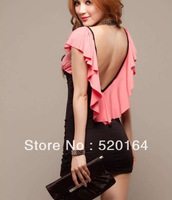 2013 Hote Sale #86636 Top Design Women's Sexy V-Neck Flouncing Open back Cocktail Party Princess dress