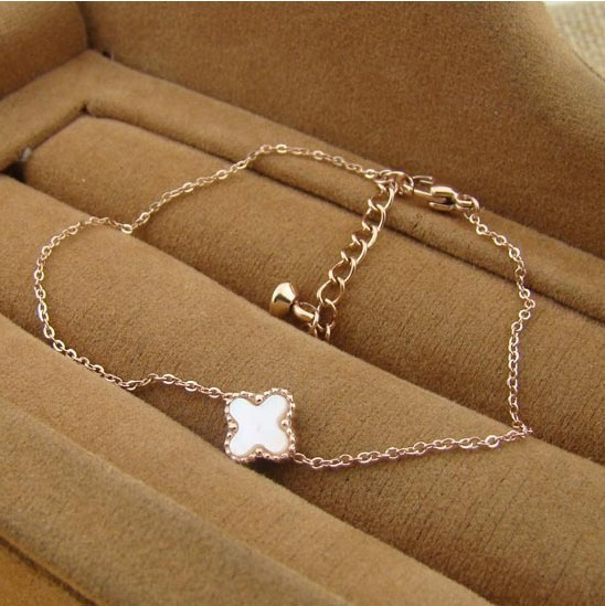 High Quality White Black Double Face Four Leaf Clovers Shell Rose Gold Plated Anklets Bracelets For