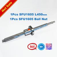 Free Shipping SFU1605 450mm RM1605 450mm Rolled Ball screw 1pcs+1pcs ballnut + end machining for BK/BF12 standard processing