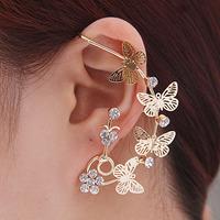 Free shopping butterfly earrings 100% of fine quality  Ms copper quality rhinestone earrings