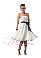 New Strapless Knee Length Dress White Bridesmaid Dresses
