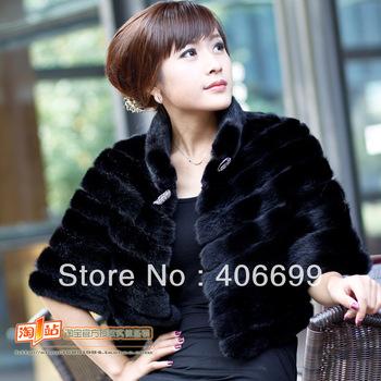2013 mink fur outerwear women's short design small cape marten overcoat