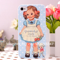 High quality Free shipping!retail package Beautiful British girl Paper doll mate hard case for iphone 4 4s