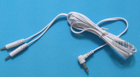 10pcs/lot DC 2.5mm 2 IN 1 plug-in slimming massager electrode wires cable for TENS EMS massager
