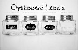 5CM X 3.5CM Cute Chalkboard Sticker Labels Vinyl Kitchen Pantry Organizing Label 3 Design Total 36 Pieces/lot, with 1 Free Chalk(China (Mainland))
