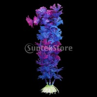 Free Shipping 20cm Plastic Aquarium Plants Ornament for Fish Tank - Purple + Blue