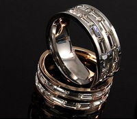 Free shipping wedding ring for men and women titanium steel Ring plated 14K gold inlay Czech Zircon ring size US 6 #  7#  8#
