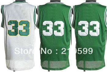 Free Shipping best basketball jersey Larry Bird vest number #33 green home white sportswear cheap men sports sleeveless t shirt