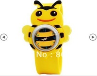 Free Shipping New Children's Cute Bee Design Watch with Plastic Strap For Gift (Yellow)