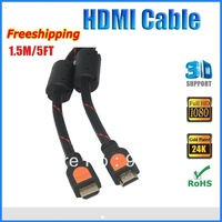 Free shipping wholesale HDMI Cable 1.5m 5FT 1.4v for LCD HDTV DVD PS3  Blueray DVD support 1080P 3D with Ethernet