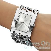 New Fashion Bracelet Watch Quartz Men Women Unisex Silver Wristwatch