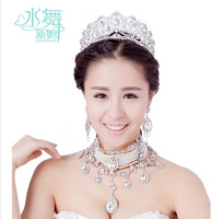 Free shipping!Luxury  Rhinestone Multi-layer  Tassel Bridal  Accessories Crown Necklace And Earring Set For Wedding SJ018
