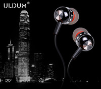 Uldum free shipping heavy bass sound in-ear metal earphone for iphone music headphones with microphone