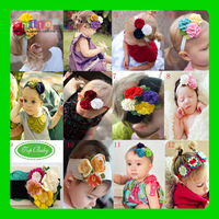 Free shipping (1 pieces)  Color flower head hair band for baby