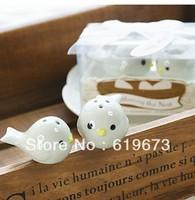 Ceramic Bird's Nest Salt & Pepper Shakers Wedding Favor 100 sets(200PCS) +Wholesale Free Shipping