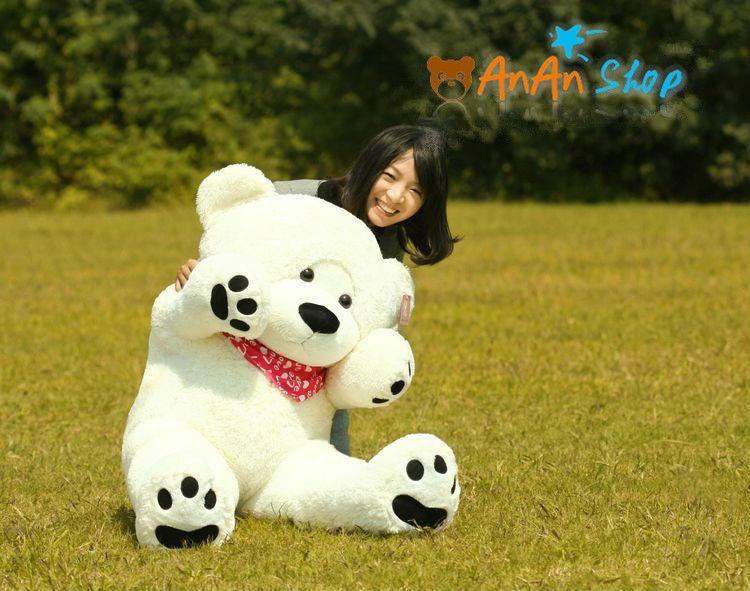 CUTE STUFFED ANIMAL DOLL GIANT 63 INCH 160CM 1.6M BIG PLUSH TEDDY BEAR WITH NICE KERCHIEF SCARF SOFT TOY BIRTHDAY CHRISTMAS GIFT(China (Mainland))