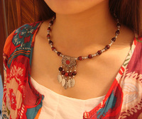 National tibetan jewelry leaf collapsibility necklaces women's stones beads torques necklaces