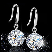 Free Shipping Hot Selling 925 Sterling Silver Earrings Fashion Wedding Zircon Earrings For Women 2013 Pendant 8 MM Min.order $10