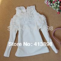 2014spring and  winter female child cotton T-shirt lace  princess girlsT-shirt  all-match child basic T-shirt long-sleeve shirt