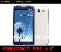 HOT i9300 9300 TV WiFi 4.0 Inch Touch Screen Quad Band unlock mobile Phone Dual SIM Card Polish Russian Language+gift