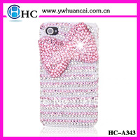 Newest !!!Free Shipping (2pieces)Beauty Diamond Pink Bow  Phone case For Iphone4/4s  BlingBling Bow Cover
