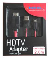 Wholesale 10pcs/lot 2M MHL Micro USB To HDMI Adapter HDTV AV Cable For Samsung Galaxy S2 i9100 / Note i9220/ HTC/LG/SONY/Nexus/