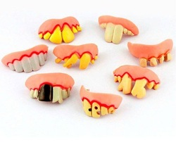 6pcs/set Free shipping Terrible Funny Goofy Fake Rotten tooth Teeth Halloween Party decoration Favor Creepy Dentures Horror toys(China (Mainland))
