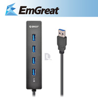 Hot ORICO Portable Super Speed 4 ports USB 3.0 Hub usb port LED Indicator 5Gbps Hot-swap Black usb splitter 016215 Free shipping