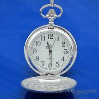 5pcs/lot Free Shipping Antique Elegant Plain Silver Polished Cover Men's Necklace Quartz Vintage Pocket Watches L144