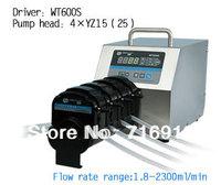 WT600S Led digital display High Flow Precise variable speed peristaltic pump/tubing pump / 4XYZ15 Pump head
