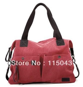 Wholesale Multi-color 2013 Women's Summer Handbag Stylish Rivet Vintage Ladies Canvas Travel Messenger Totes Bag+ Free Shipping