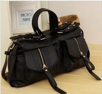 Women's Handbags Solid Color Belt Decoration Wristlets Small Pocket Shoulder Bags Rivets Bolsas Vintage Motorcycle Bag for Women