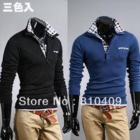 2013 Fashionable Multi-Color Men Polo Shirt/ Long Sleeve Polo Shirt Free Shipping