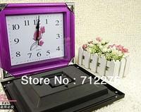 Flower surface wall clock style   rectangular   wholesale plastic wall clock quartz