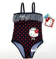 Free Shipping Retail Girls Baby Kids Kitty  Swimsuit Swimming Costume Swimwear 1-8Y Toddler One-Piece