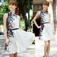 2013 New Women Casual Floral Dress Korea Sleeveless Pleated Tunic Mini Dress Summer Size & Color Customization  Wholesale Q757