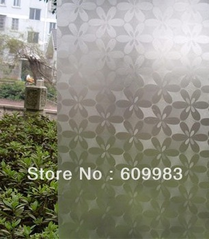 free shipping frosted glass film protect privacy window film decorative sticker self-adhesive glass film 45cm*1000cm flower
