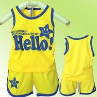 Wholesale Cute HELLOW smiling face printing children vest sets,boy sleeveless+short suits