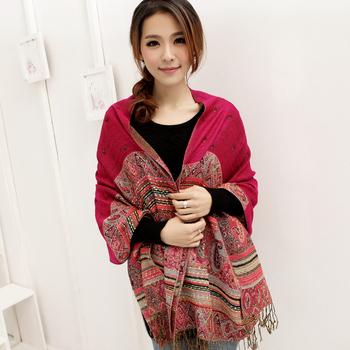 2013 On SaleWinter Women Scarves China Retro Style Bohemian Long Cotton Little Bee Women Tassel Fringe Scarf Shawl Free Shipping