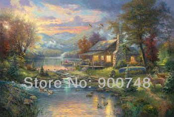 Thomas Kinkade Original landscape oil painting ( Nature's Paradise ) Art print Reproduction on canvas wall decor Free shipping