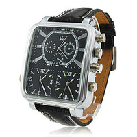 V6 New Hot Argus Panoptes Men's Multi-Movement PU Leather Sports Wrist Watch Black Free Shipping