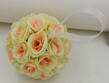 6 Pcs 5''  Roses The Ball Pink Heart Rice yellow Sepak Takraw Ornaments Wedding Festival Ceremony Decoration Silk Flower (2984)