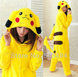 Retail Free Shipping Japan Anime Pokemon Pikachu Costume Animal Cosplay Kigurumi Pajamas S M L XL(China (Mainland))