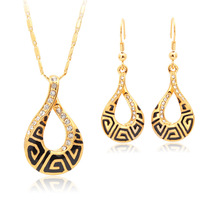 Fashion G Style Vintage Jewelry Set 18K Real Gold Plated Austrian Rhinestone Necklace Earrings Set For Women Free Shipping S3128