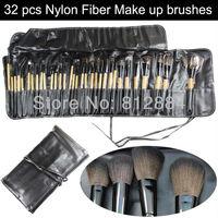 32pcs Professional Makeup Brushes Nylon Fiber Powder BB Brush Set Kits With Leather Case Free Shipping