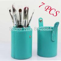 High Quality 7pcs Makeup Brush Set Kits Nylon Fiber Powder Brushes Cylinder Case Free Shipping