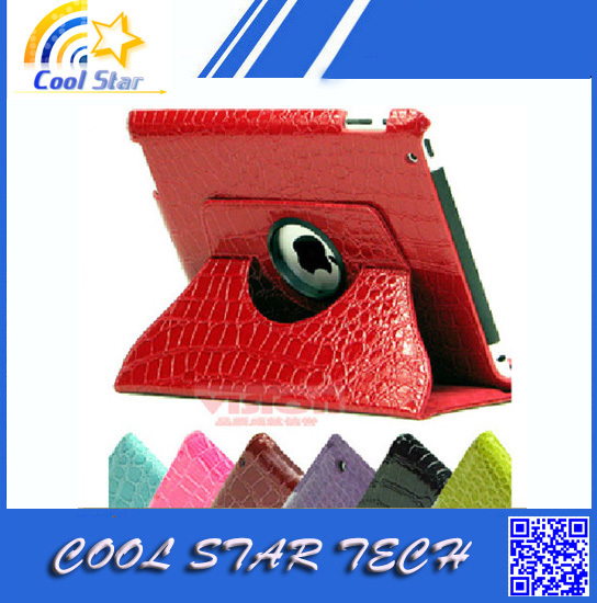 Freeshipping 360 Degree Rotating Crocodile Faux Leather Stand Smart Case Cover for New iPad Mini(China (Mainland))