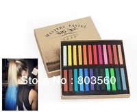 24 Colors / pack, Temporary Drawing Hair Dye Color Chalk Soft Salon Pastels DIY with Gift Box