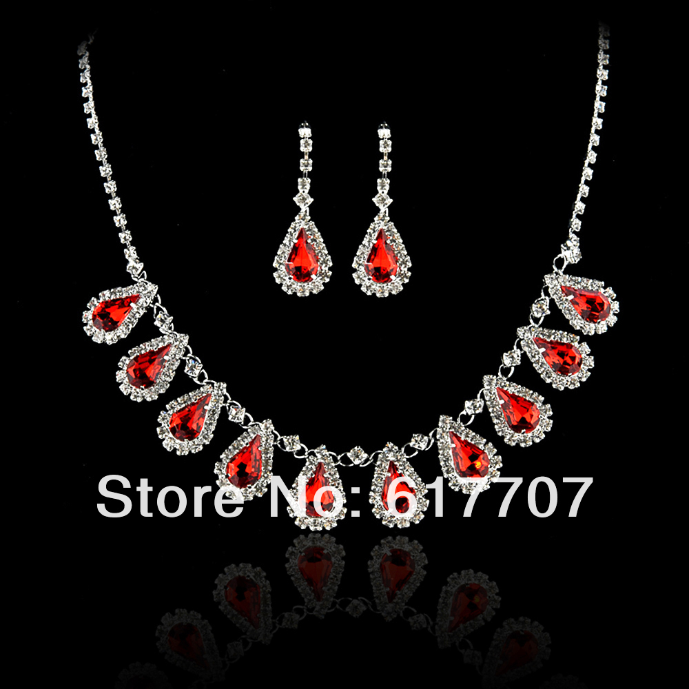 Min.order is $10 Free Shipping Wholesale Imitation Gemstone Bridal Jewelry Set Crystal African Wedding Jewelry Set(China (Mainland))