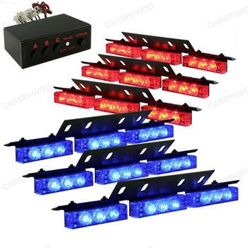 54 LED Lamp Red/Blue Strobe Police Emergency Flashing Warning Light  for Car Truck  Vehicle